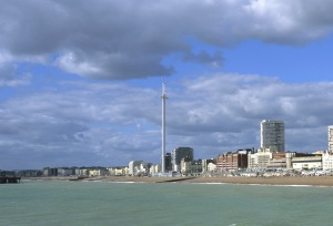 The i360 tower is very tall and slender